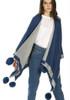 Cashmere Pom Pom Wrap in Blue and Grey CSRF6823A-D07