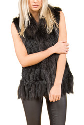 Black Coney and Fox Fur Gilet (with tassels) FF48A-01
