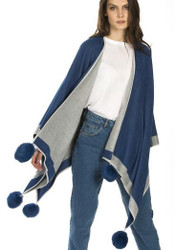 Cashmere Pom Pom Wrap in Blue and Grey CSRF6823A-D07