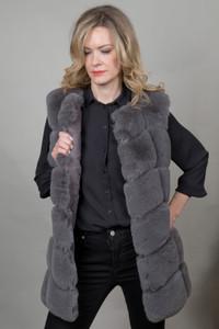 Luxury Faux Fur Gilet in Grey