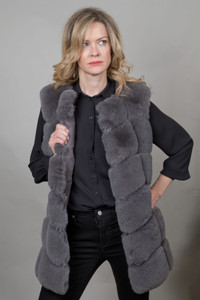 Luxury Faux Fur Gilet in Grey FMCG395A-03