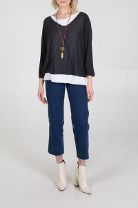 Double Layer Jersey Top with Necklace in Charcoal