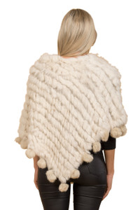 White Coney Fur Poncho (with pom poms) RFD1019A-02