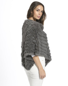 Mid Grey Rabbit Fur Poncho RF1018A-03M