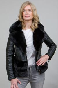 Luxury Faux Fur Trim Biker Jacket in Black