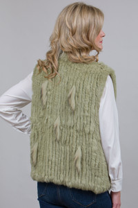 Short Lime Green Rabbit and Fox Fur Gilet