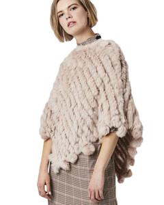 Dusky Pink Rabbit Fur Poncho (with pom poms) RFD1019A-B06