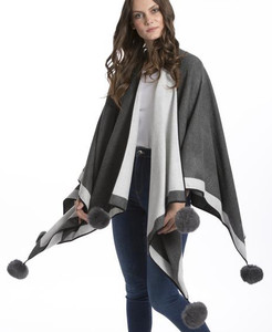 Cashmere Pom Pom Wrap in Light Grey