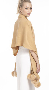 Cashmere and Silk Scarf with Faux Pom Poms in Camel