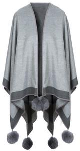 Cashmere Pom Pom Wrap in Mid Grey reversed