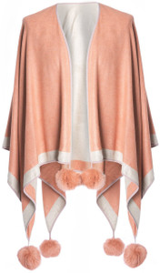 Cashmere Pom Pom Wrap in Peach and Beige