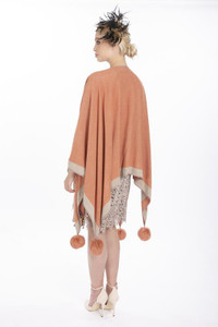 Cashmere Pom Pom Wrap in Peach and Beige CSRF6823A-09N