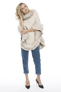 Fox Fur and Faux Suede Poncho in Cream