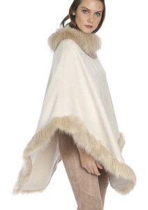 Faux Suede and Faux Fur Poncho in Cream SUFM23A- 02