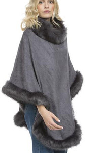 Faux Suede and Faux Fur Poncho in Grey