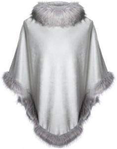 Faux Suede and Faux Fur Poncho in Light Grey
