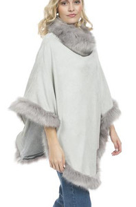 Faux Suede and Faux Fur Poncho in Light Grey SUFM23A- 03S