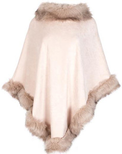 Faux Suede and Faux Fur Poncho in Pink