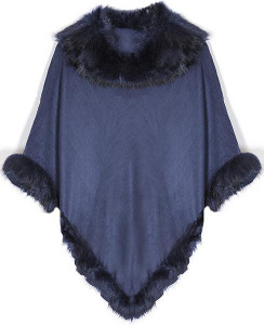 Faux Suede and Faux Fur Poncho in Navy