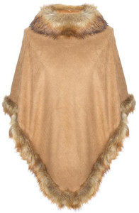 Faux Suede and Faux Fur Poncho in Camel SUFM23A-09