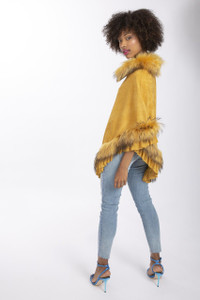Fox Fur and Faux Suede Poncho in Cream SUFP1649A-0Y