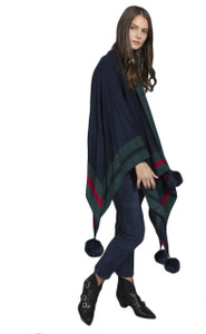 Cashmere Real Fur Pom Pom Wrap in Navy and Green