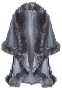 Faux Fur Wrap in Dark Grey KFP23A-D03