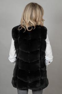 Luxury Faux Fur Gilet in Black FMCG395A-01