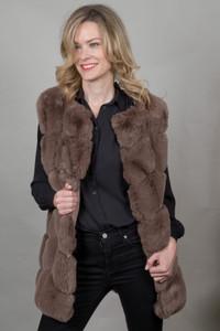 Luxury Faux Fur Gilet in Chocolate FMCG395A-04