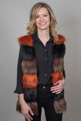Faux Fur Gilet in Multicoloured QED0740