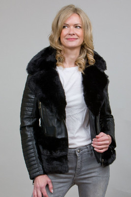Luxury Faux Fur Trim Biker Jacket in Black