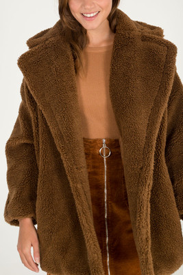 Stylish Faux Fur Teddy Coat in Brown