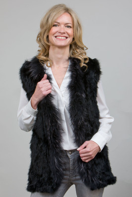 Black Rabbit and Fox Fur Gilet