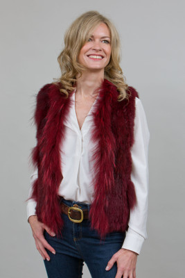 Short Red Rabbit and Fox Fur Gilet
