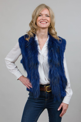 Short Blue Rabbit and Fox Fur Gilet