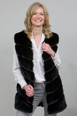 Long Stylish Faux Fur Gilet in Black