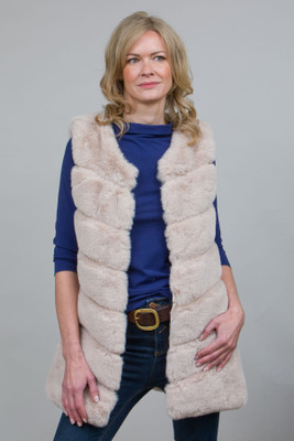 Long Stylish Faux Fur Gilet in Stone