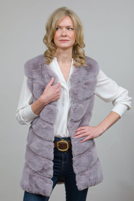 Long Stylish Faux Fur Gilet in Lilac