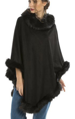 Faux Suede and Faux Fur Poncho in Black SUFM23A- 01