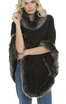 Faux Suede and Faux Fur Poncho in Black with Silver Tips SUFM23A- D01