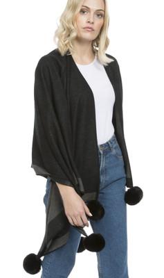 Cashmere Blend Faux Fur Pom Pom Wrap in Black CSRF6821A-01
