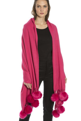 Cashmere and Silk Scarf with Faux Pom Poms in Pink WPMF15A-05