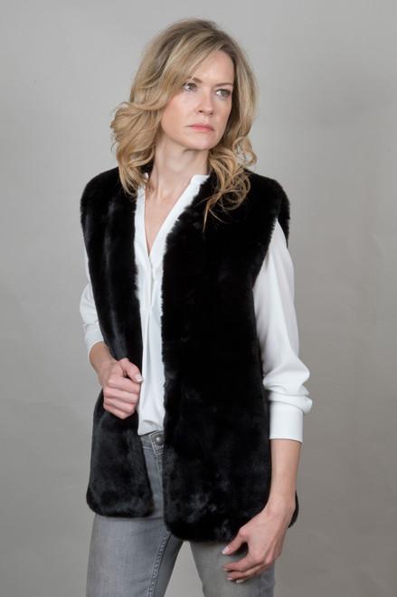 Faux Fur Gilet in Black NL5139-01