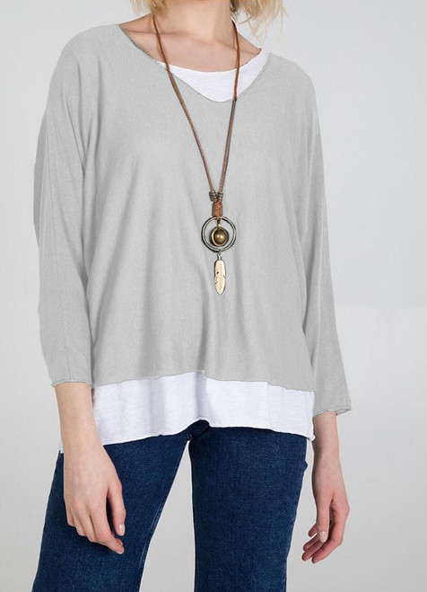 Double Layer Jersey Top with Necklace in Light Grey