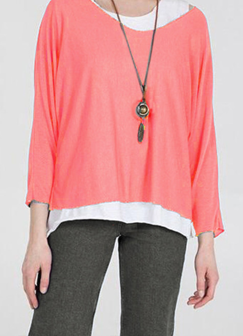 Double Layer Summer Top with Necklace in Coral
