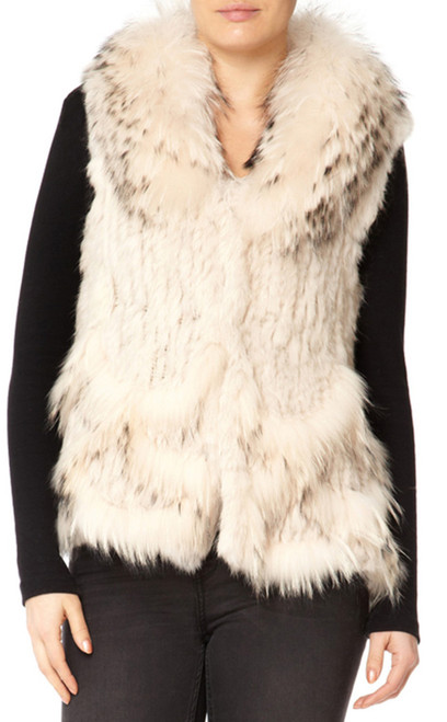 Short Cream Coney and Fox Fur Gilet with Detachable Collar RF3266A-02