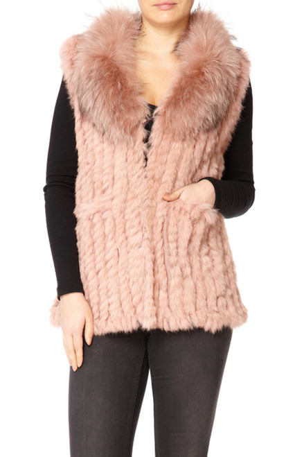 Long Pink Coney and Fox Fur Gilet (detachable collar)