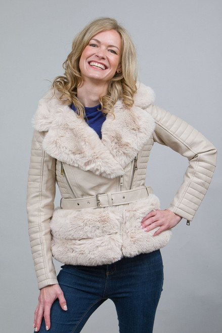 Luxury Faux Fur Trim Biker Jacket in Cream