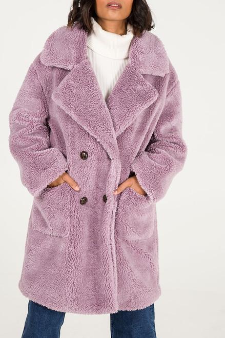 Long Stylish Faux Fur Teddy Coat in Lilac
