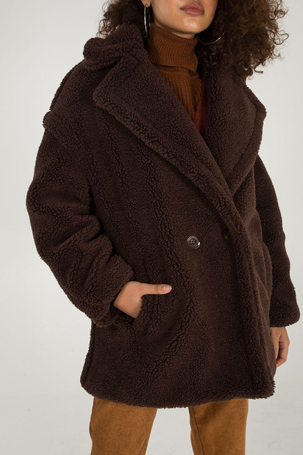 Stylish Faux Fur Teddy Coat in Dark Brown